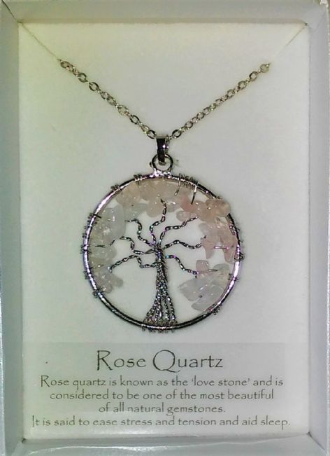 Tree of Life Gemstone Pendant - Rose Quartz